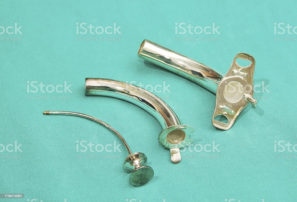silver tracheostomy tube stock photo