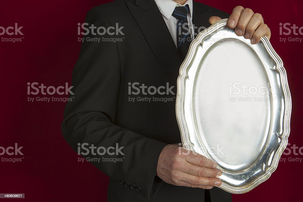 Silver tray in the old style royalty-free stock photo