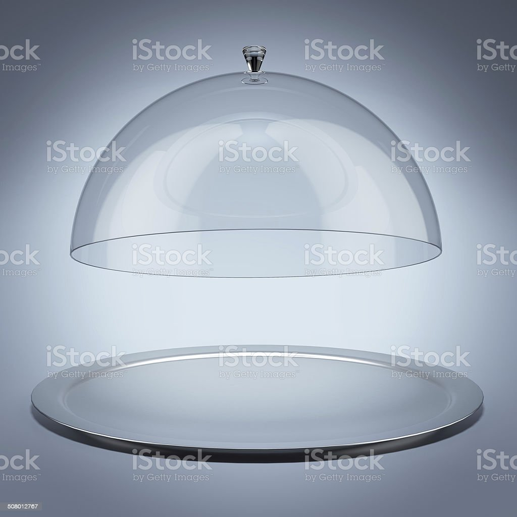 Silver tray with glass cover stock photo