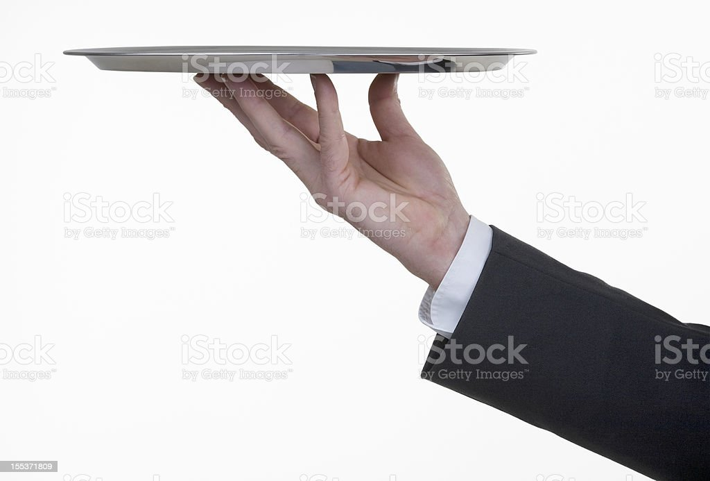 Silver tray with hand royalty-free stock photo