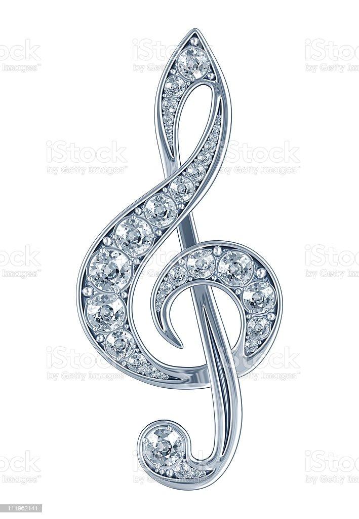 Silver Treble Clef with Diamonds royalty-free stock photo