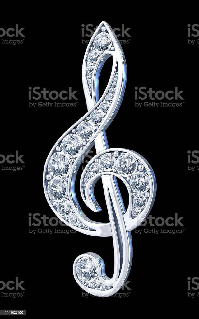 Silver Treble Clef with Diamonds royalty-free stock photo