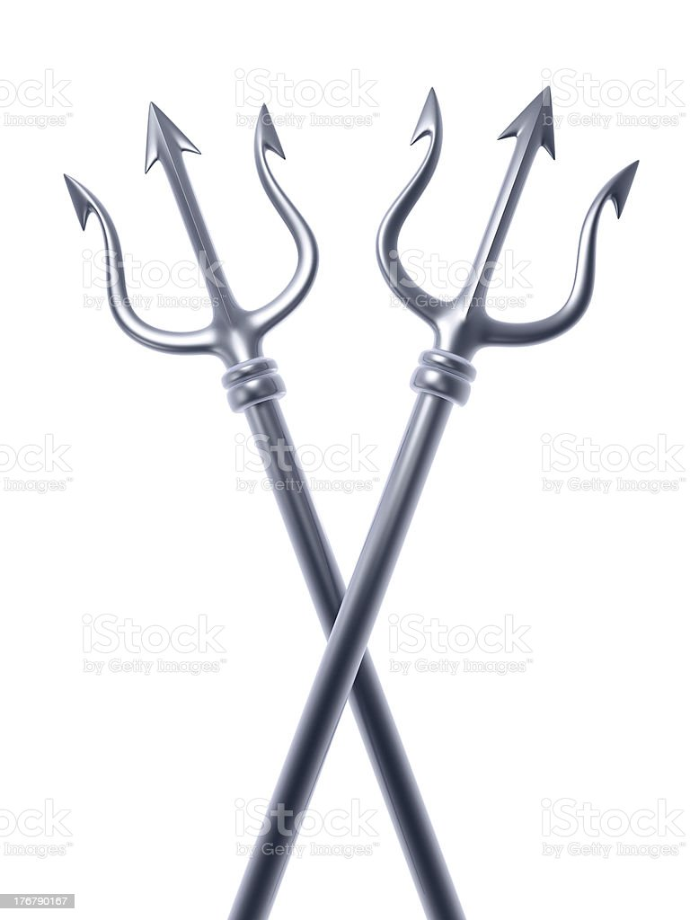 silver trident cross stock photo