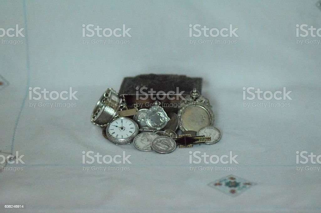Silver trinkets and jewellery stock photo