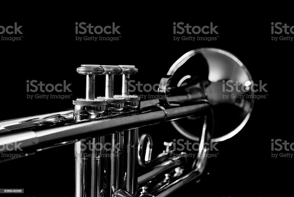 Silver Trumpet on Black stock photo