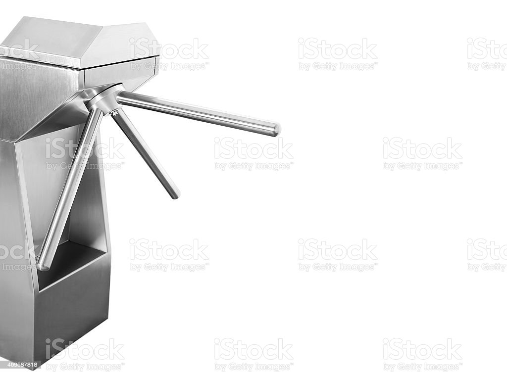 A silver turnstile on a white background stock photo