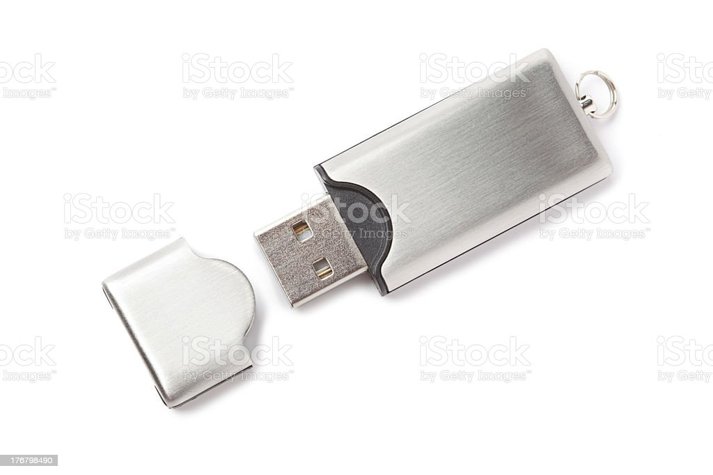 Silver USB flash drive with open lid on white background stock photo