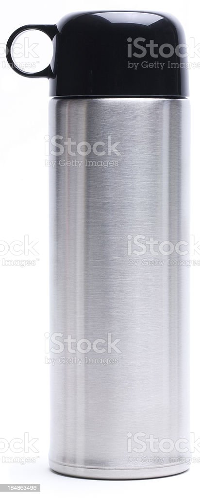 Silver vacuum flask stock photo