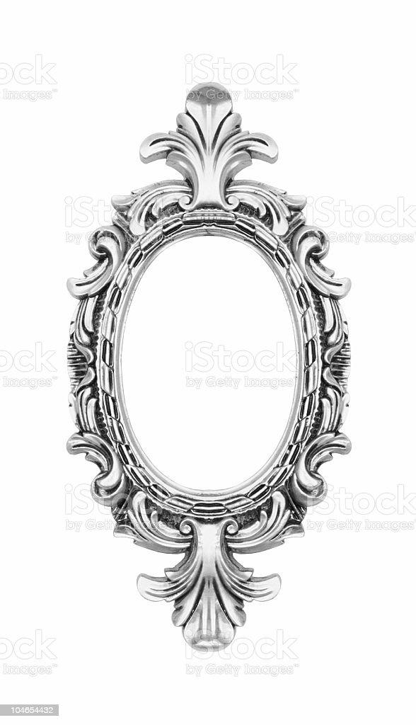 Silver vintage ornate oval frame stock photo