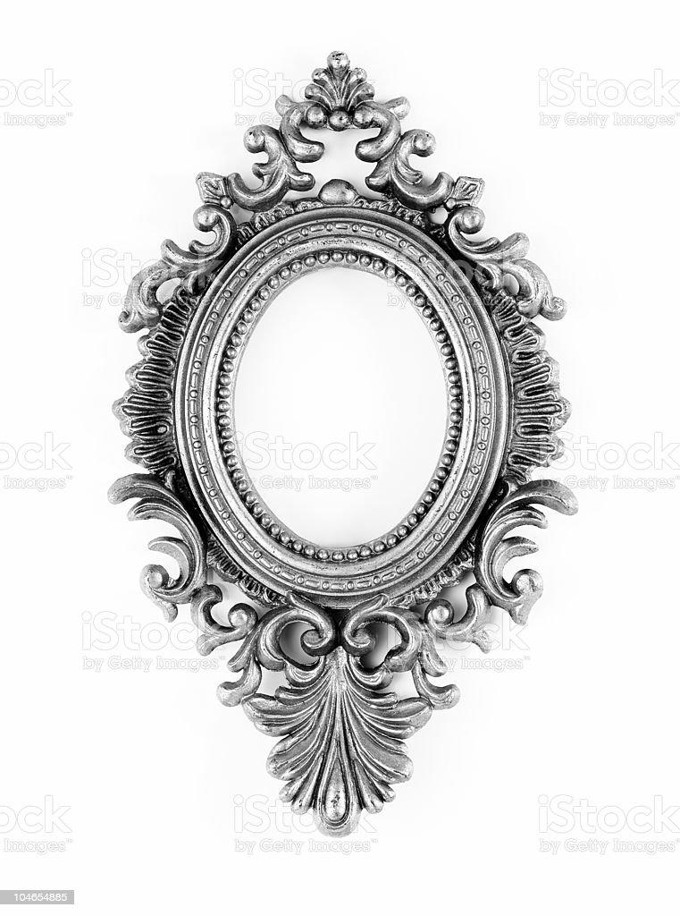 Silver vintage ornate oval frame royalty-free stock photo