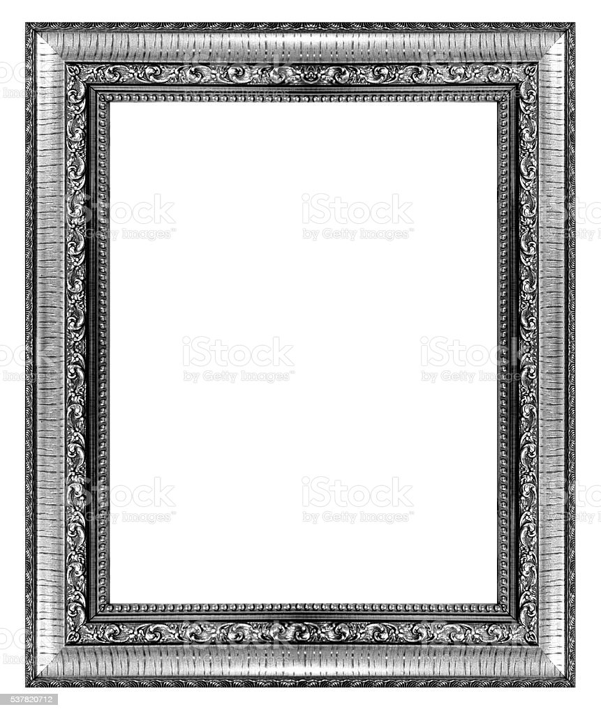 silver vintage picture and photo frame isolated on white backgro stock photo