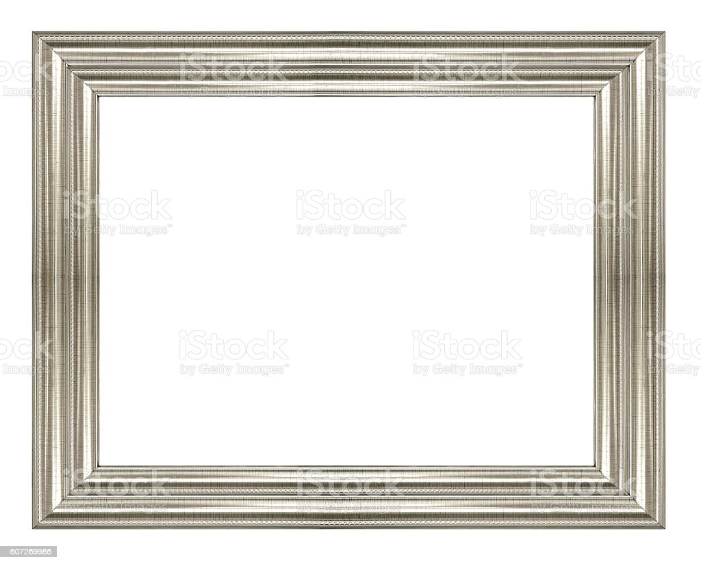 Silver vintage picture frame isolated on white background. stock photo