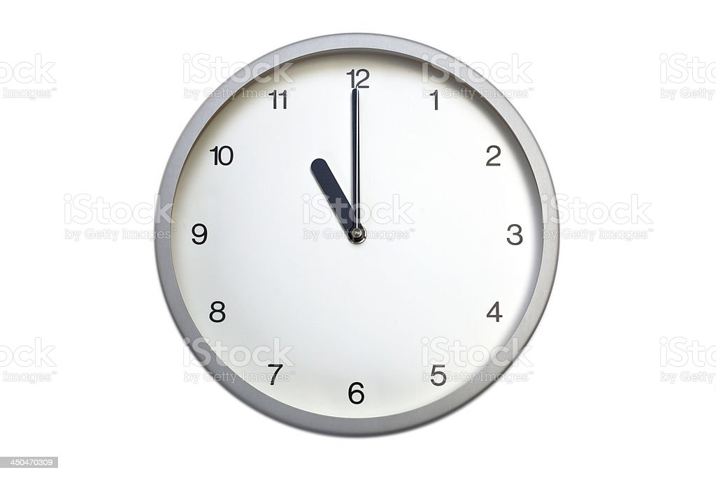Silver wall clock royalty-free stock photo