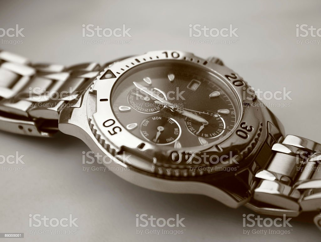 Silver watch for sale stock photo