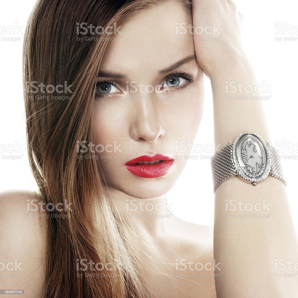 silver watch stock photo
