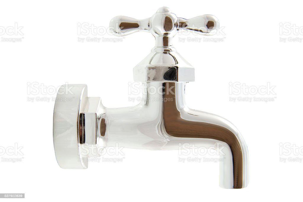 Silver water tap stock photo