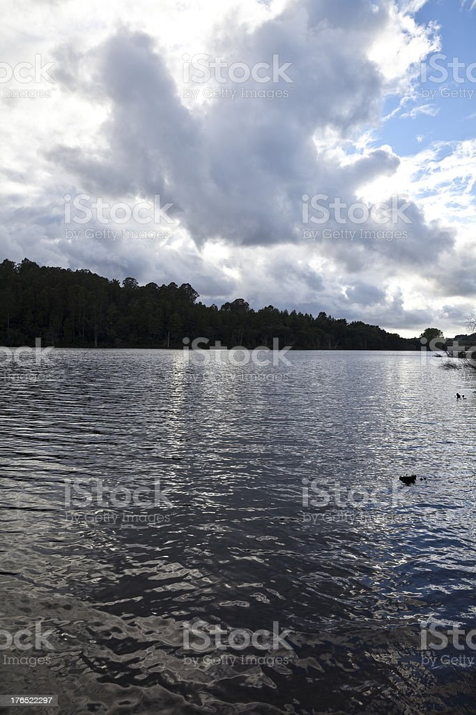Silver water under clouds on a lake royalty-free stock photo