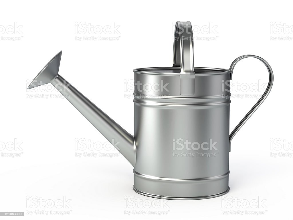A silver watering can on a white background royalty-free stock photo