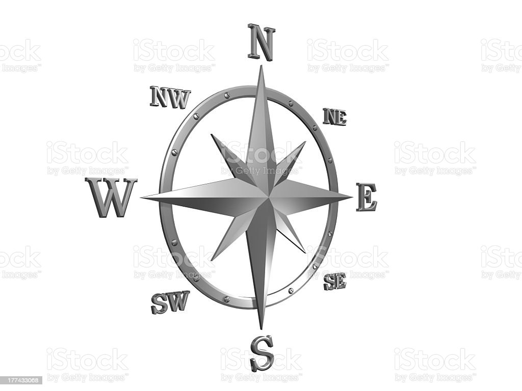 Silver wind rose with clipping path royalty-free stock photo