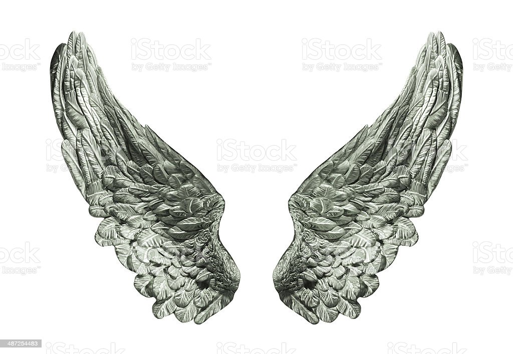 silver wings isolated stock photo
