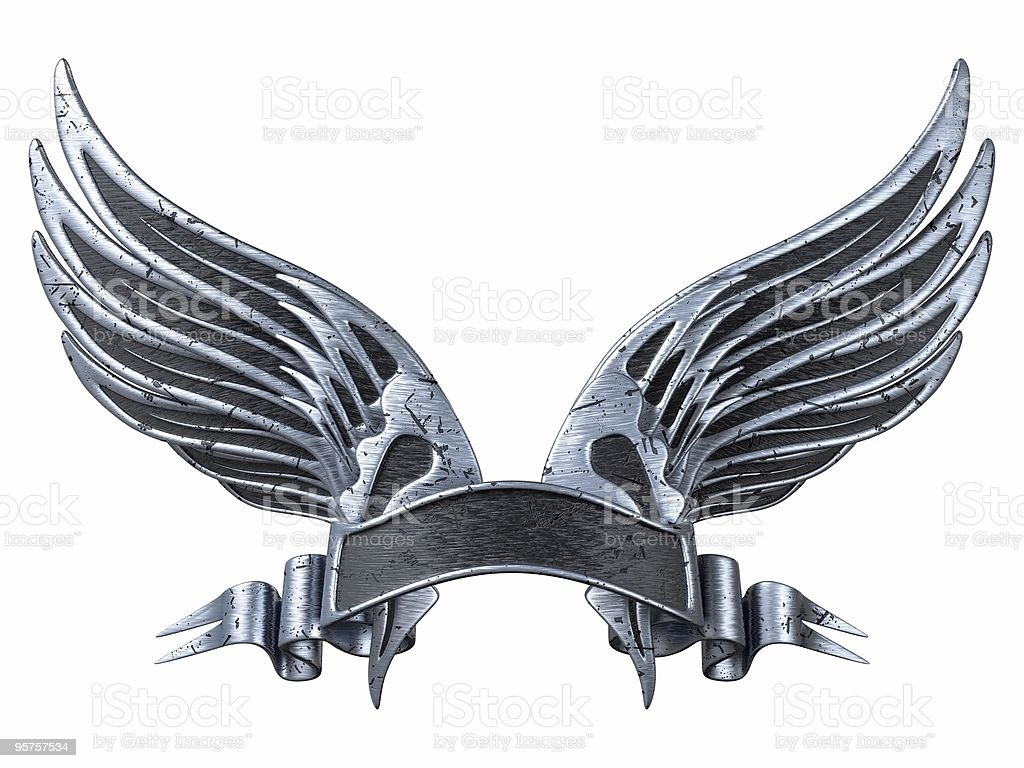 Silver Wings with Ribbon royalty-free stock photo