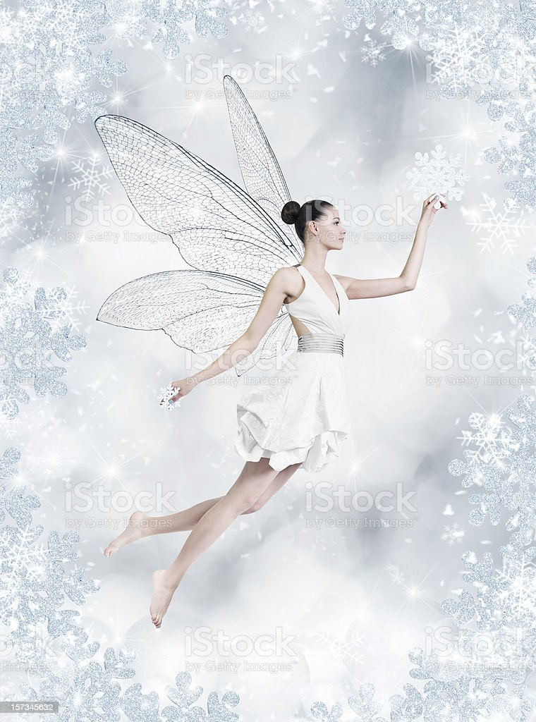 Silver winter fairy stock photo
