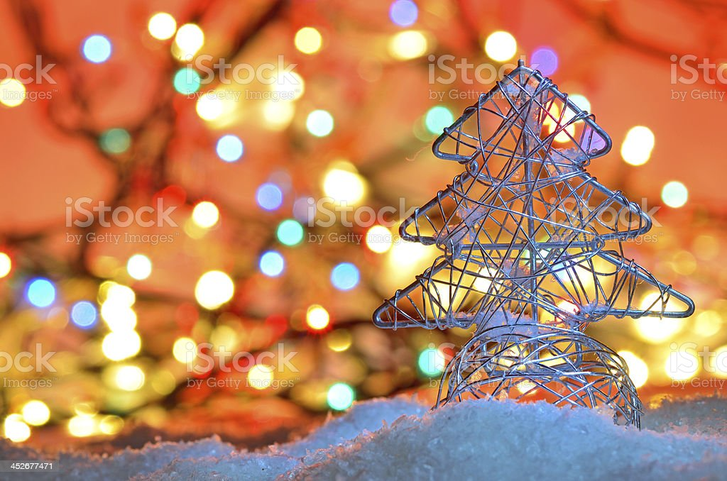 Silver Wired Christmas Tree Royalty Free Stock Photo
