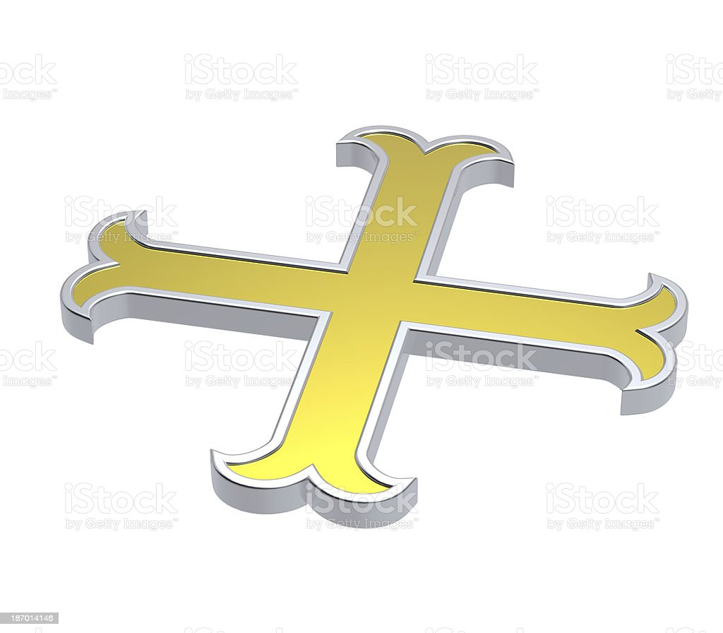 Silver with gold frame heraldic cross isolated on white. royalty-free stock photo