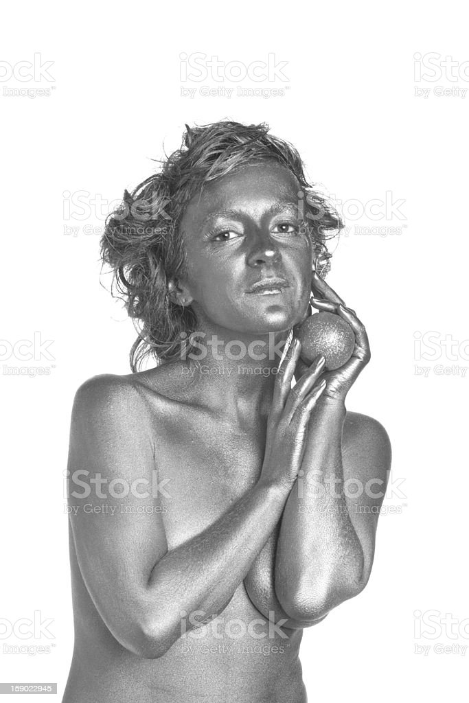 Silver woman with apple royalty-free stock photo
