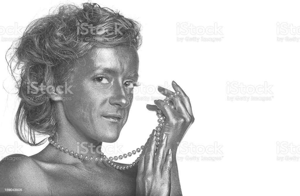 Silver woman with pearls royalty-free stock photo