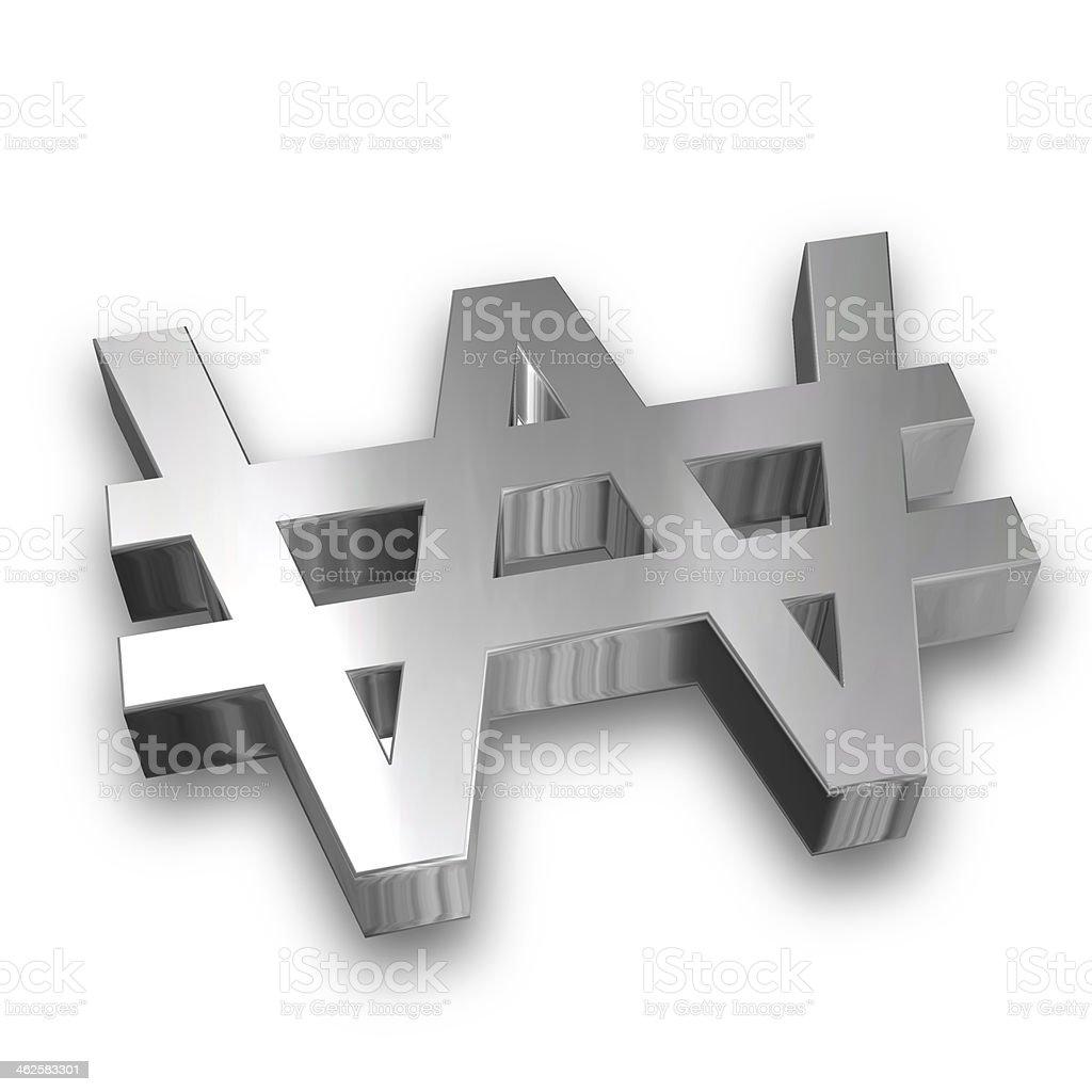 Silver Won symbol stock photo
