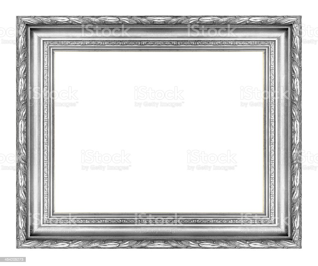 Silver wooden  picture frame isolated on white background royalty-free stock photo