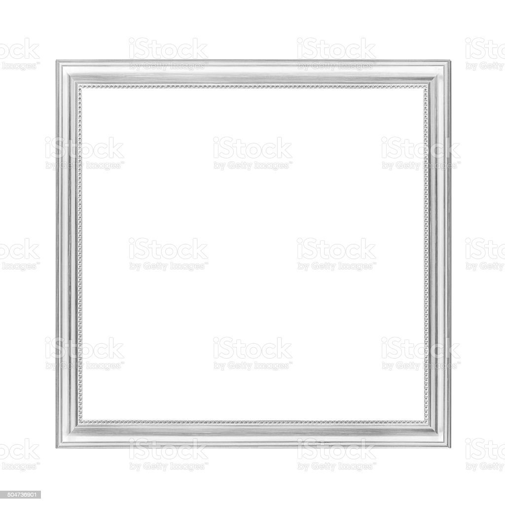 Silver wooden picture frame isolated on white, clipping path included stock photo