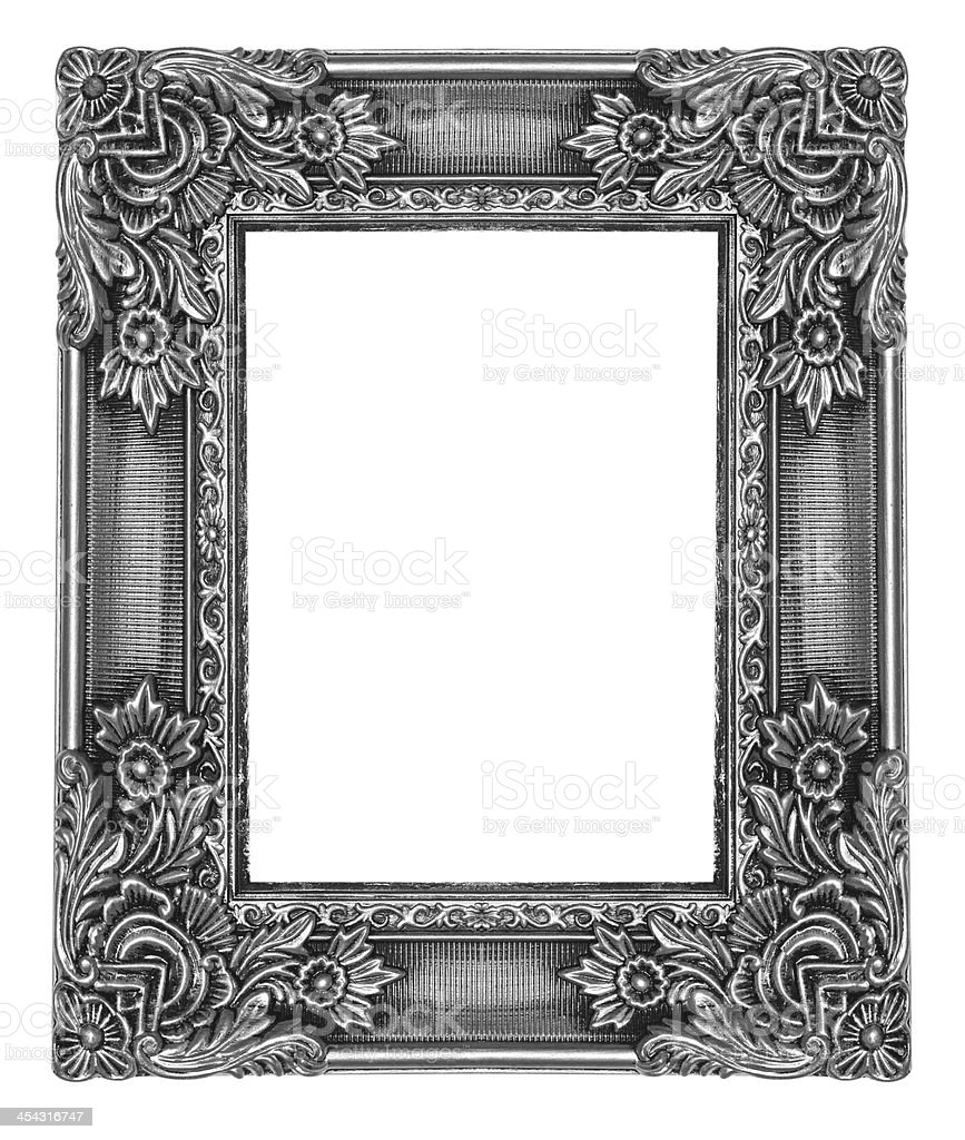 Silver wooden picture frame isolated  white background royalty-free stock photo