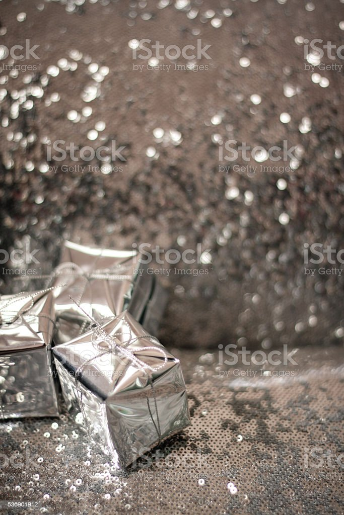 Silver wrapped Gifts stock photo
