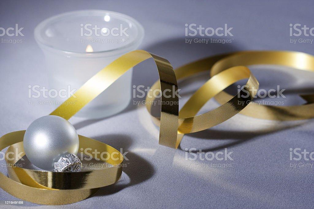 Silver Xmas ornaments stock photo
