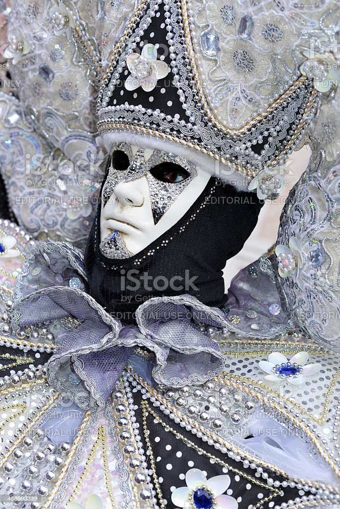 Silver-Black Creative Mask in San Zacharias Square Venice 2013 royalty-free stock photo