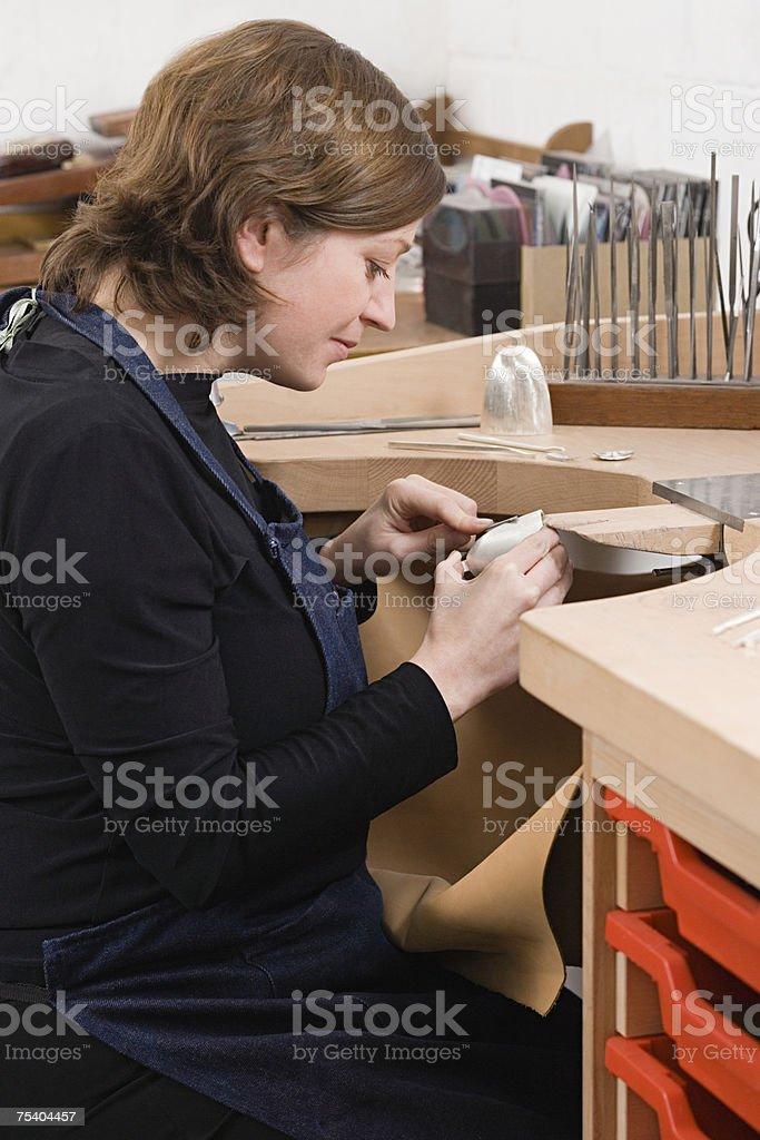 Silversmith at work royalty-free stock photo