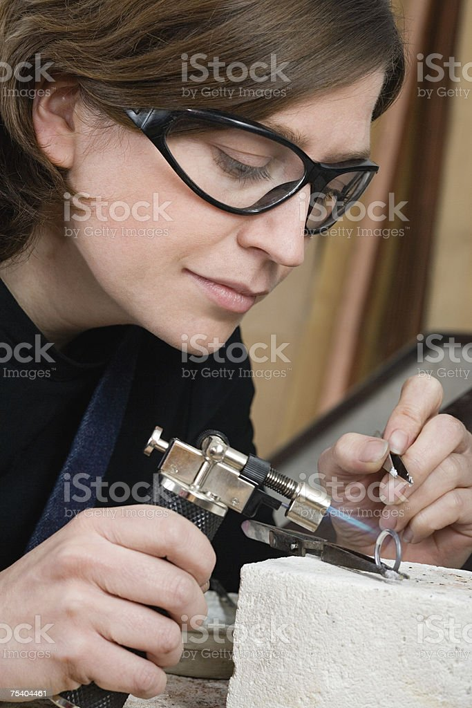 Silversmith at work royalty-free stock photo
