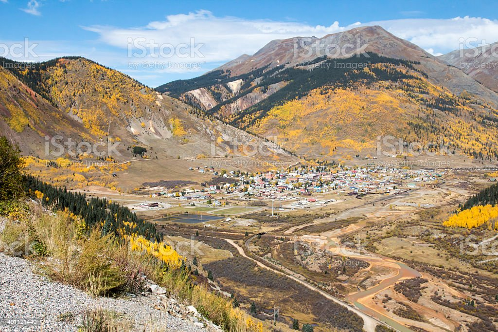 Silverton, CO in the fall with the polluted Animas river stock photo