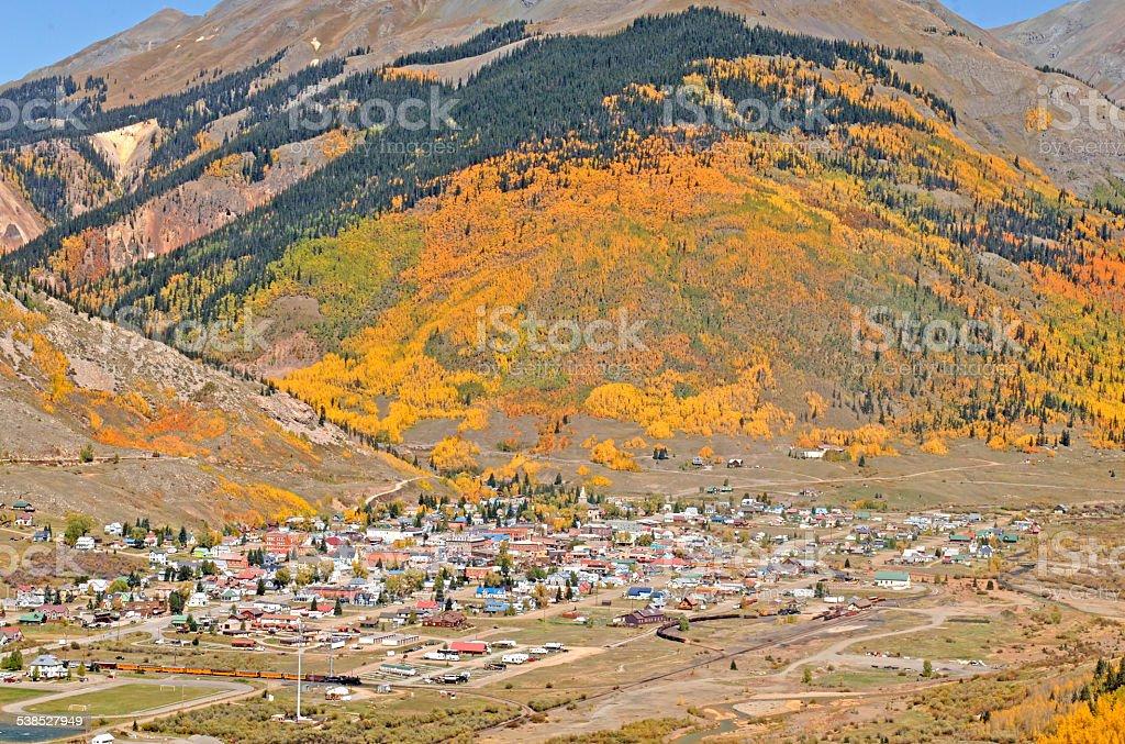 Silverton, Colorado from Highway 550 stock photo