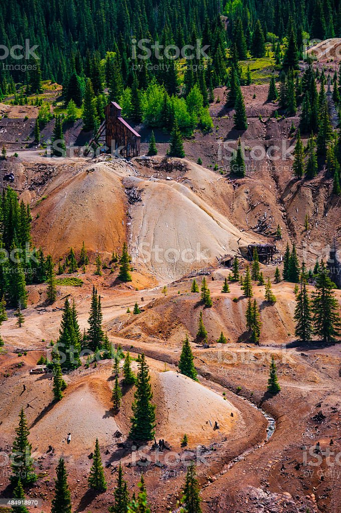 Silverton Durango Gold Mine Hillside of Toxic Colorado History stock photo