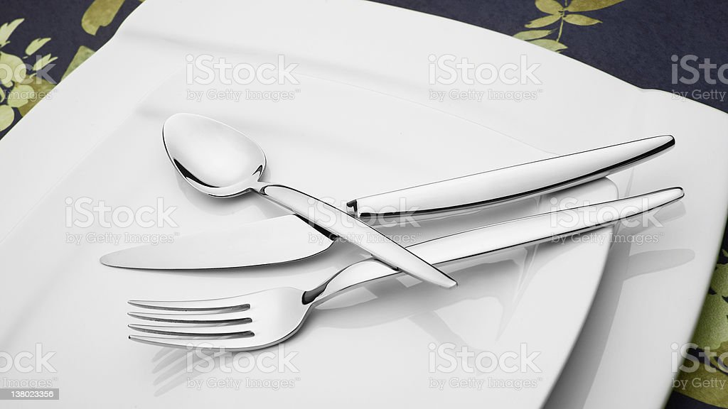 Silverware And Plates royalty-free stock photo