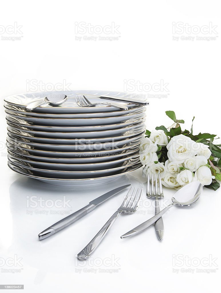 Silverware And Roses royalty-free stock photo