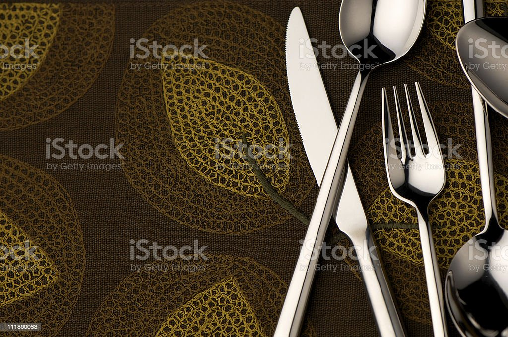 Silverware on an Autumn Holiday Table royalty-free stock photo