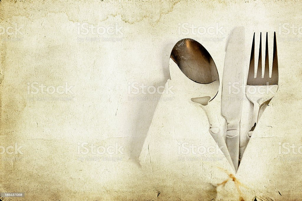 Silverware on vintage background royalty-free stock photo
