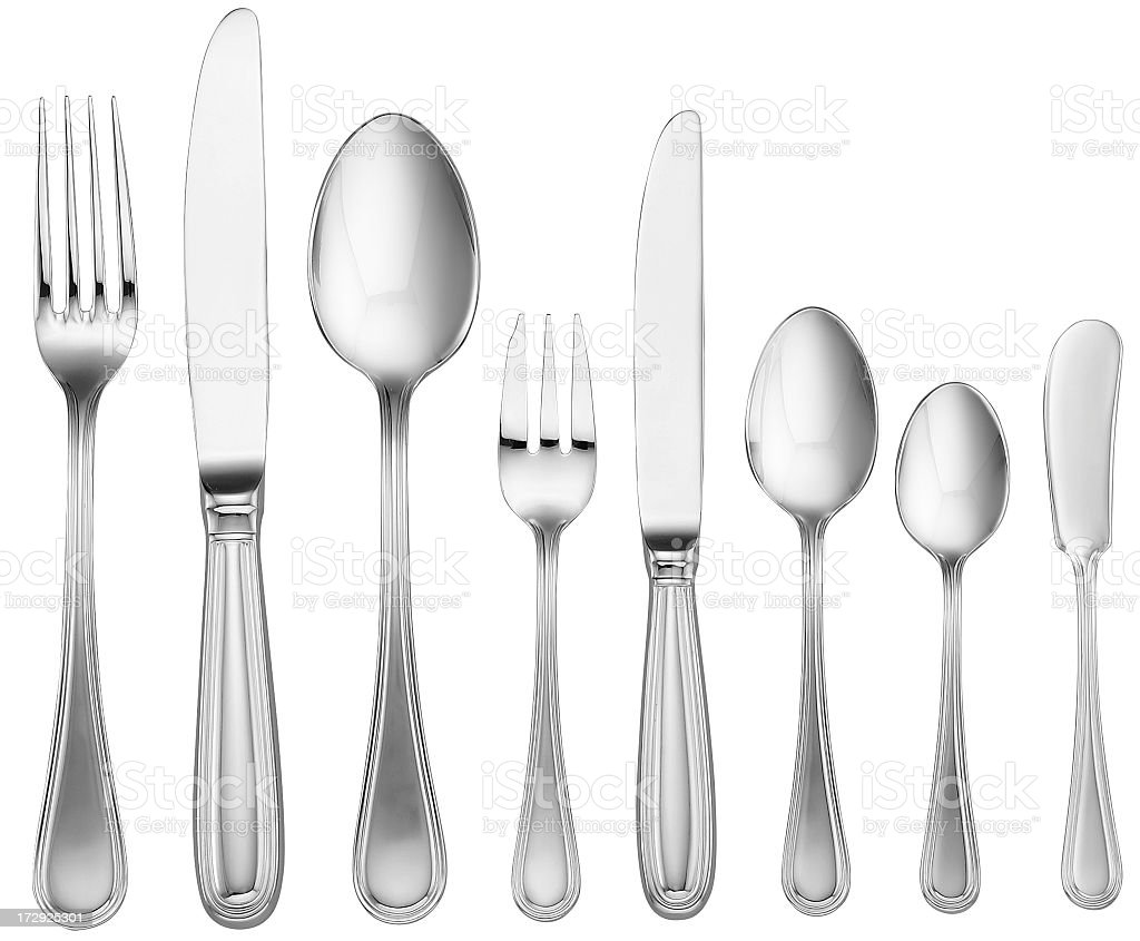 Silverware Set (with clipping path) stock photo