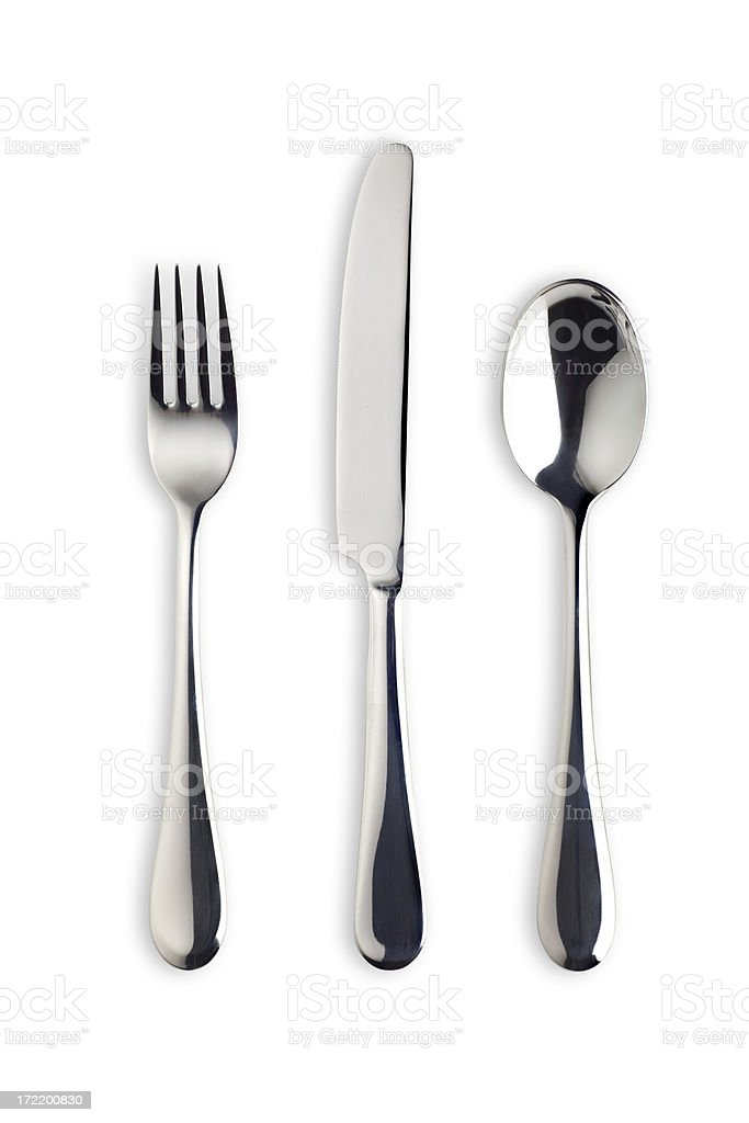 Silverware Set with Fork, Knife, and Spoon (Clipping Path) royalty-free stock photo