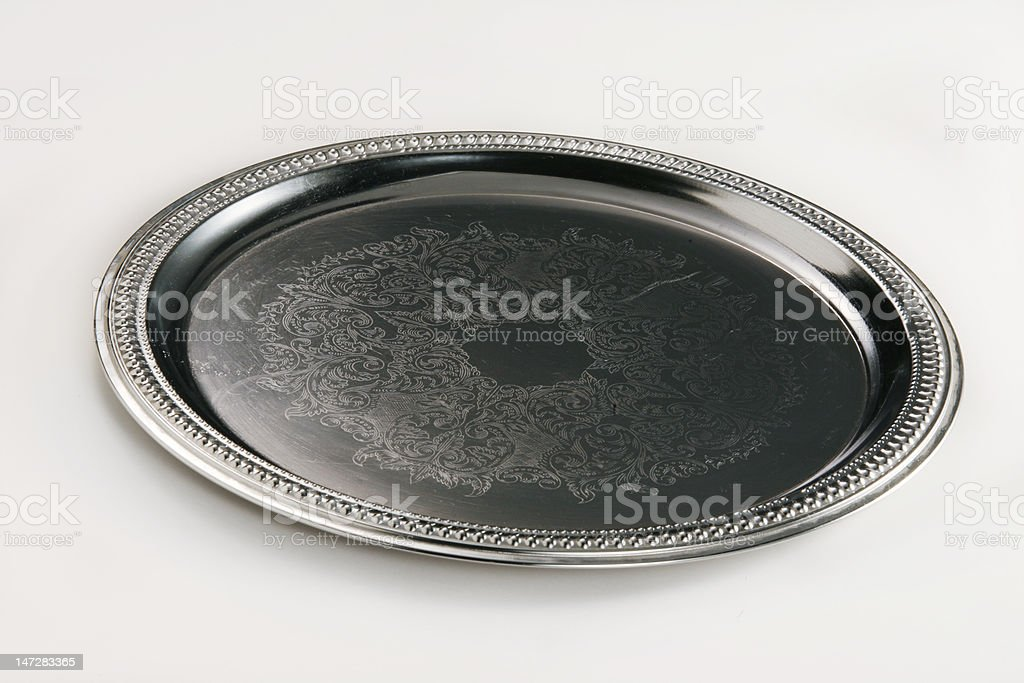 Silvery serving plate stock photo