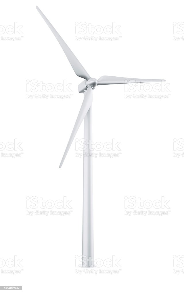 Silvery wind turbine isolated on white background stock photo